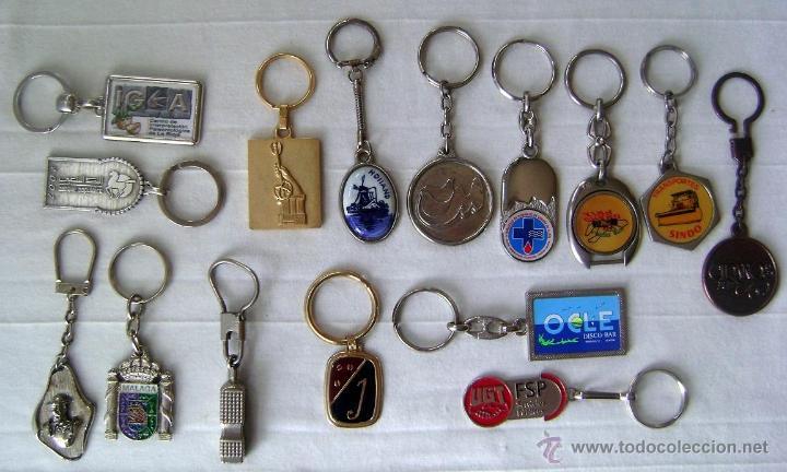 LOTE 15 LLAVEROS METÁLICOS, ANTIGUOS CASI TODOS (Coleccionismo - Llaveros)