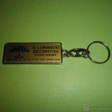 Coleccionismo de llaveros: LLAVERO ANTIGUO AMOREL ILUMINACIO DECORATIVA TÁRREGA LLEIDA. Lote 50414597