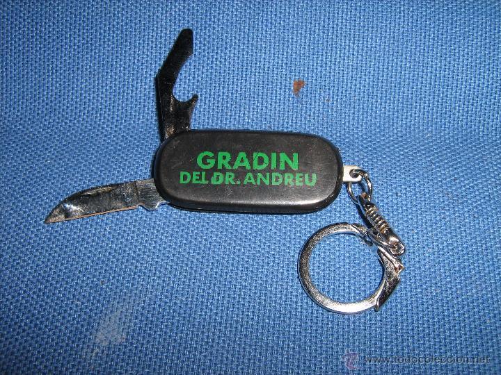 LLAVERO CON NAVAJA PUBLICIDAD DE GRADIN DEL DR. ANDREU (Coleccionismo - Llaveros)