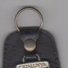 Coleccionismo de llaveros: LLAVERO CUERO Y METAL ESMALTADO DE CATALUNYA. Lote 54676599