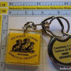 Coleccionismo de llaveros: 2 LLAVEROS DE ANIMALES. PERROS. SOCIEDAD CANINA SCAOR DE GRANADA. AÑOS 80. Lote 83886240