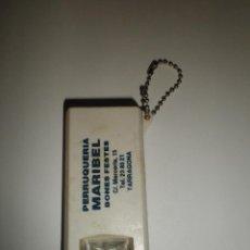 Coleccionismo de llaveros: LLAVERO ANTIGUO PUBLICIDAD PERRUQUERIA MARIBEL BONES FESTES TARRAGONA. Lote 91727660