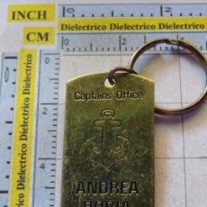 Collezionismo di Portachiavi: LLAVERO DE BARCOS NAVIERAS. BUQUE TRANSATLÁNTICO ANDREA DORIA 1952. CAMAROTE DEL CAPITÁN. Lote 103084563
