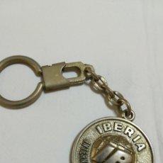 Coleccionismo de llaveros: LLAVERO REDONDO DE METAL IBERIA LÍNEAS AÉREAS INTERNACIONALES DE ESPAÑA. Lote 126584119