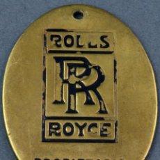 Coleccionismo de llaveros: PLACA OVAL LLAVERO EN BRONCE PROPIETARIO ROLLS ROYCE AÑOS 60. Lote 293777498
