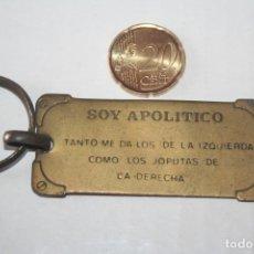 Coleccionismo de llaveros: DECLARACIÓN APOLÍTICO *** ANTIGUO LLAVERO CHAPA METAL *** . Lote 147907030