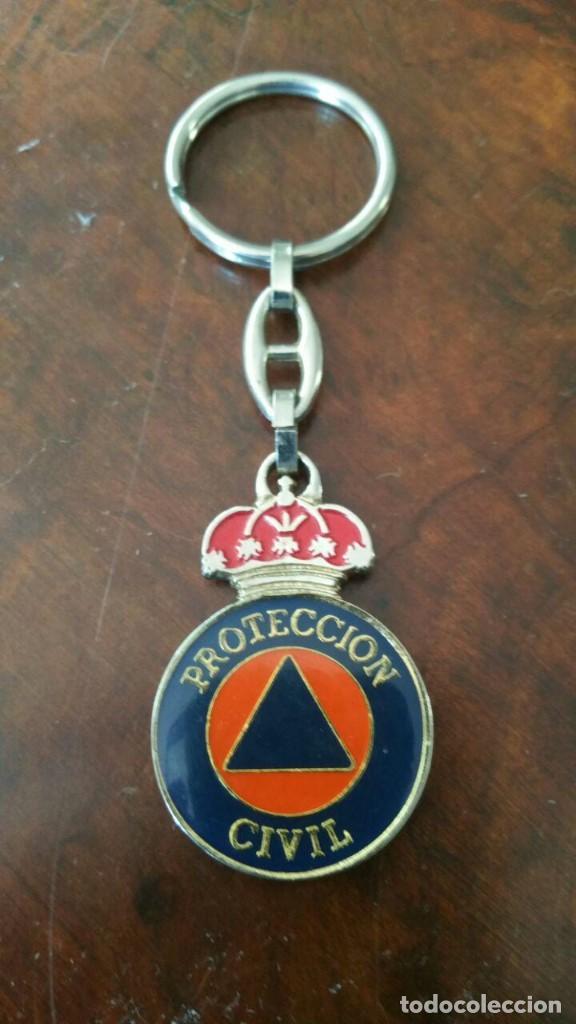 LLAVERO PROTECCION CIVIL - REVERSO ESCUDO DE ESPAÑA (Coleccionismo - Llaveros)
