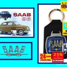 Coleccionismo de llaveros: SAAB 92 / 93 / 94 / 95 / 96 / 97 / 99 - LLAVERO DE LUJO ORIGINAL AÑOS 70 NUEVO A ESTRENAR - PRECIOSO. Lote 179108180