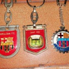 Coleccionismo de llaveros: LOTE 3 ANTIGUOS LLAVEROS FC BARCELONA DENTADO BANDERIN CAMP NOU BARÇA FCB ESTADIO CHAMPIONS RETRO. Lote 181441535
