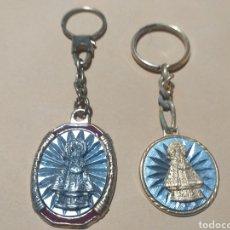 Coleccionismo de llaveros: LOTE 2 LLAVEROS METALICOS DORADOS RELIGIOSOS. Lote 190553988