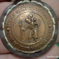 Coleccionismo de llaveros: VOLVO BEHOLD SAINT CHRISTOPHER THEN GO YOUR WAY IN SAFETY PIEL Y METAL MUY BONITO 4 CMS ALTO. Lote 194677142
