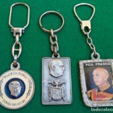 Coleccionismo de llaveros: LOTE DE TRES LLAVEROS DE FRANCO. Lote 194732026