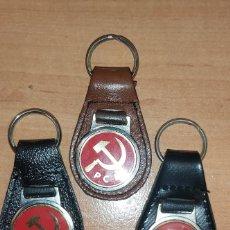 Coleccionismo de llaveros: LOTE 3 LLAVEROS EN PIEL .DOS NEGROS Y UNO MARRON. Lote 194774696