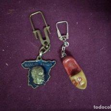 Coleccionismo de llaveros: LOTE DE 2 LLAVEROS DE ALIANZA POPULAR AP, MAPA ESPAÑA, MANUEL FRAGA Y ZUECO. Lote 194785360