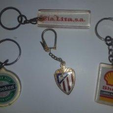 Coleccionismo de llaveros: LOTE DE 4 LLAVEROS SHELL - HEINEKEN - LITA Y ATLETICO MADRID. Lote 195334975