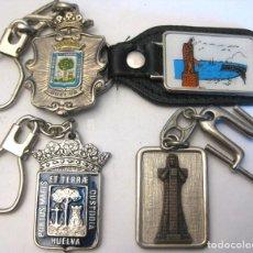 Coleccionismo de llaveros: LOTE DE 4 LLAVEROS DE HUELVA. Lote 198507940