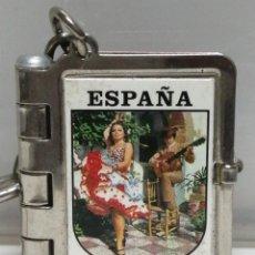 Coleccionismo de llaveros: LLAVERO METAL LIBRO POSTALES FERIA DE ABRIL SEVILLA ESPAÑA. Lote 202628275