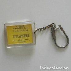 Coleccionismo de llaveros: ANTIGUO LLAVERO SEAT DOS HERMANAS SEVILLA PUBLICIDAD SERVICIO OFICIAL MARCA DE COCHE DETRÁS DIBUJO. Lote 217143740
