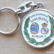 Coleccionismo de llaveros: LLAVERO REAL MADRID CF PEÑA CASA BLANCA CAPELLADES BARCELONA FUTBOL METAL KEYRING KEY CHAIN R125. Lote 222124068