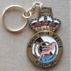 Coleccionismo de llaveros: LLAVERO REAL MADRID CF PEÑA MADRIDISTA MARBELLA MALAGA 2 LADOS FUTBOL METAL KEYRING KEY CHAIN R127. Lote 222124505