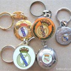 Coleccionismo de llaveros: LOTE 5 LLAVERO REAL MADRID CF LOGO + MEDIO BALON Y ENTERO METAL KEYRING CHAVEIRO KEY CHAIN. Lote 222126640