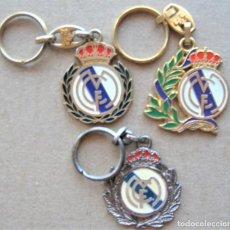 Coleccionismo de llaveros: LOTE 3 LLAVERO REAL MADRID CF LOGO + LAURELES METAL KEYRING CHAVEIRO PORTE-CLES KEY CHAIN. Lote 222126747