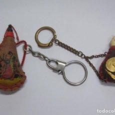 Coleccionismo de llaveros: 2 ANTIGUOS LLAVEROS - BOTA VINO ( RECUERDO PILAR ZARAGOZA + RECUERDO DE ESPAÑA ) ...L2669. Lote 227971591