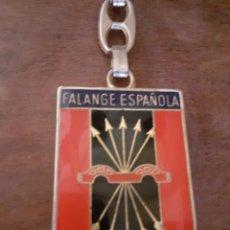 Coleccionismo de llaveros: LLAVERO FRANCO FALANGE AUTÉNTICO TRANSICION ( AZUL ). Lote 230222100