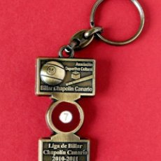 Coleccionismo de llaveros: LLAVERO DE LA LIGA DE BILLAR , CHAPOLÍN CANARIO - EN METAL DORADO - 2010-2011 - ORIGINAL - NUEVO. Lote 258208900