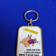 Coleccionismo de llaveros: LLAVERO REAL MADRID Y BARCELONA PARODIA. Lote 262203645