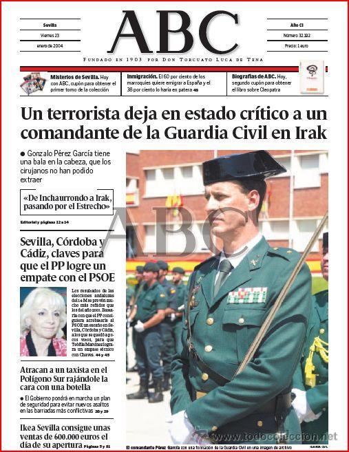 DIARIO 'ABC', Nº 32192. 23 DE ENERO DE 2004. GUARDIA CIVIL EN PORTADA. (Coleccionismo - Revistas y Periódicos Modernos (a partir de 1.940) - Los Domingos de ABC)