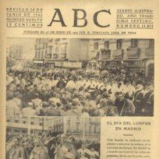 Coleccionismo de Los Domingos de ABC: ABC 14 DE JUNIO DE 1941 CORPUS EN MADRID.. Lote 120951824