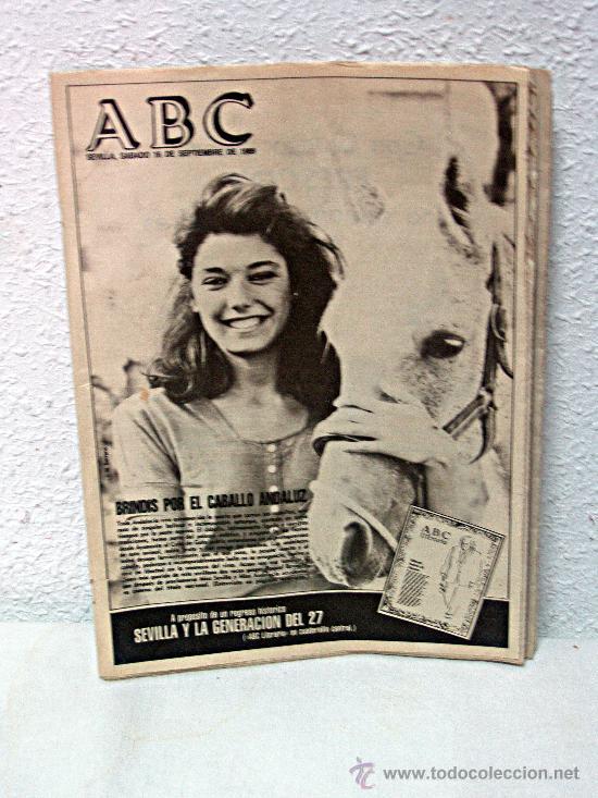 ABC DE SEVILLA /// 16 SEPTIEMBRE 1989 /// RAQUEL REVUELTA PORTADA /// CABALLO ANDALUZ /// (Coleccionismo - Revistas y Periódicos Modernos (a partir de 1.940) - Los Domingos de ABC)