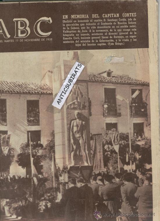 ABC.AÑO 1958.CAPITAN CORTES.SANTUARIO DE N.S.DE LA CABEZA.GUERRA CIVIL.AVECREM (Coleccionismo - Revistas y Periódicos Modernos (a partir de 1.940) - Los Domingos de ABC)