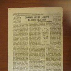 Coleccionismo de Los Domingos de ABC: ABC 9-4-86.- CINCUENTA AÑOS DE LA MUERTE DEL POETA VILLAESPESA. Lote 34694647