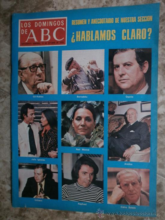 ABC. SUPLEMENTO.1976.RAPHAEL,J.IGLESIAS,N.MISTRAL,URIBARRI,DAYAN,TIZIANO,J.CORTES-CAVANILLAS. (Coleccionismo - Revistas y Periódicos Modernos (a partir de 1.940) - Los Domingos de ABC)