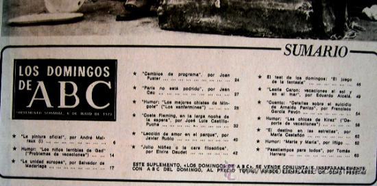 Coleccionismo de Los Domingos de ABC: LOS DOMINGOS DE ABC, JULIO 1973. MALRAUX, MADARIAGA, COSTA FLEMING, LESLIE CARON, GARCIA PAVON...... - Foto 3 - 37408903