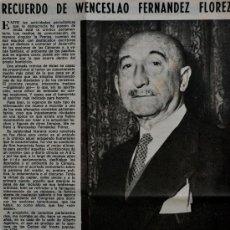 """Coleccionismo de Los Domingos de ABC: ARTICULO DE PRENSA DEL ABC 1978 """"RECUERDO DE WENCESLAO FERNANDEZ FLOREZ"""" 1 PAGINA . Lote 38844083"""