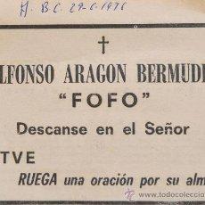 """Coleccionismo de Los Domingos de ABC: ESQUELA ORIGINAL DE PRENSA MUERTE DE ALFONSO ARAGON """"FOFO"""" (JUNIO 1976) ABC . Lote 38908323"""