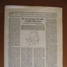 Coleccionismo de Los Domingos de ABC: EN LA MUERTE DEL ESCULTOR PABLO SERRANO. HOY SERÁ ENTERRADO EN SAN ISIDRO. ABC 27-11-85. Lote 39666271