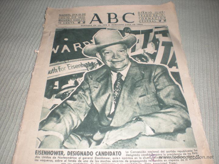 ABC JULIO DE 1952 . EISENHOWER , DESIGNADO CANDIDATO, usado segunda mano