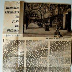 """Coleccionismo de Los Domingos de ABC: ARTICULO DE PRENSA ORIGINAL 1966 ABC """"LA HERENCIA LITERARIA DE JUAN DE BICLARO"""" . Lote 40278439"""