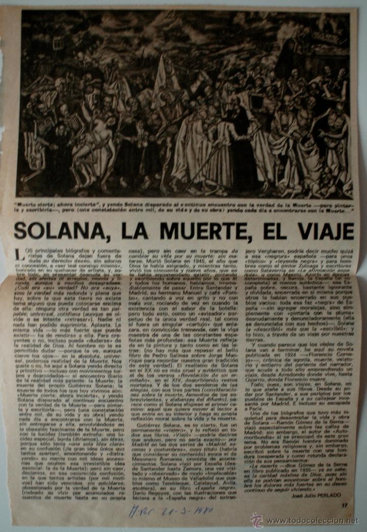 """ARTICULO DE PRENSA ORIGINAL DE 1980 (ABC) """"SOLANA, LA MUERTE, EL VIAJE"""" POR JOSE JULIO PERLADO (Coleccionismo - Revistas y Periódicos Modernos (a partir de 1.940) - Los Domingos de ABC)"""