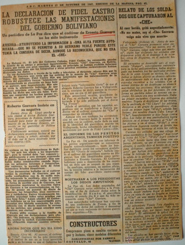 """ARTICULO ORIGINAL DE PRENSA ABC 1967 """"DECLARACION DE FIDEL CASTRO..."""" MUERTE CHE GUEVARA (Coleccionismo - Revistas y Periódicos Modernos (a partir de 1.940) - Los Domingos de ABC)"""