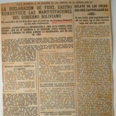 """Coleccionismo de Los Domingos de ABC: ARTICULO ORIGINAL DE PRENSA ABC 1967 """"DECLARACION DE FIDEL CASTRO..."""" MUERTE CHE GUEVARA . Lote 40648877"""