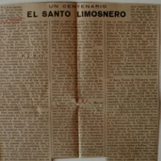 Coleccionismo de Los Domingos de ABC: ARTICULO DE PRENSA ORIGINAL 1955 (ABC) UN CENTENARIO, EL SANTO LIMOSNERO . Lote 40868366