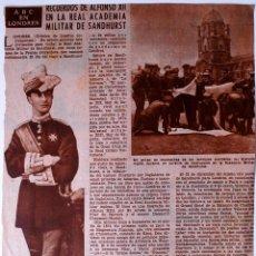 Coleccionismo de Los Domingos de ABC: ARTICULO DE PRENSA ORIGINAL, ABC EN LONDRES, RECUERDOS DE ALFONSO XII. Lote 41104398