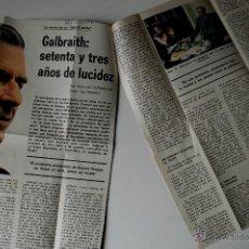 """Coleccionismo de Los Domingos de ABC: ARTICULO DE PRENSA ORIGINAL DE 1981 """"GALBRAITH: 73 AÑOS DE LUCIDEZ"""" . Lote 41220100"""
