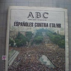 Coleccionismo de Los Domingos de ABC: DIARIO ABC, MARTES 15 JULIO 1997 - ESPAÑOLES CONTRA ETA/HB. Lote 10539450
