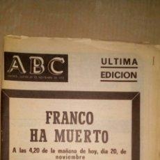 Coleccionismo de Los Domingos de ABC: PERIÓDICO ABC, ULTIMA EDICIÓN FRANCO HA MUERTO 1975. Lote 61002157